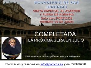 VISITA ESPECIAL AL MONASTERIO DE SAN JERÓNIMO, TRAS EL CIERRE.
