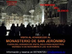 VISITA ESPECIAL AL ATARDECER AL MONASTERIO DE SAN JERÓNIMO