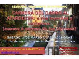 LAS LEYENDAS EN EL ENTORNO DEL DARRO AL ATARDECER: ENTRE LAS LEYENDAS  Y  PATRIMONIO (Visita interior Carmen de los cipreses)