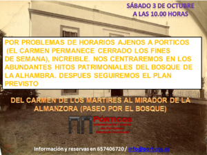 POR PROBLEMAS DE HORARIOS EN EL CARMEN DE LOS MARTIRES SE CAMBIA EL PROGRAMA.